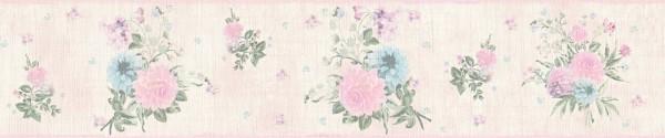 Tapeten Bordüre Blumen rosa grün Djooz 2