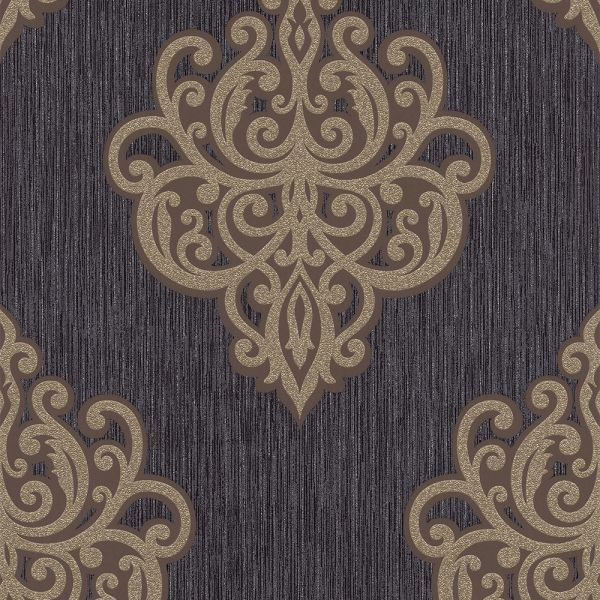 Edle Vliestapete Barock Ornament schwarz braun
