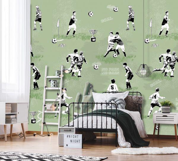 Vlies Fototapete Fußball Goal Pokal grün Wandbild 200 x 300cm