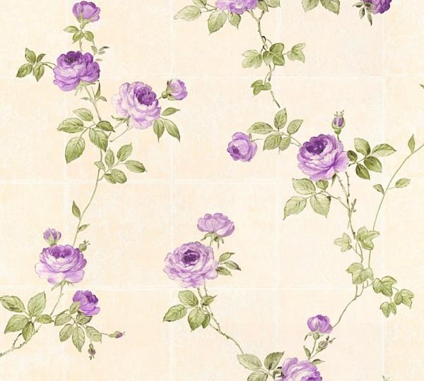 Vliestapete Kacheln Kletterrosen beige grün lila