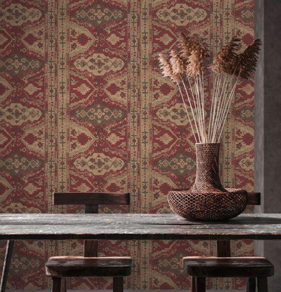 Vliestapete orientalischer Wandteppich Marrakesch rot beige