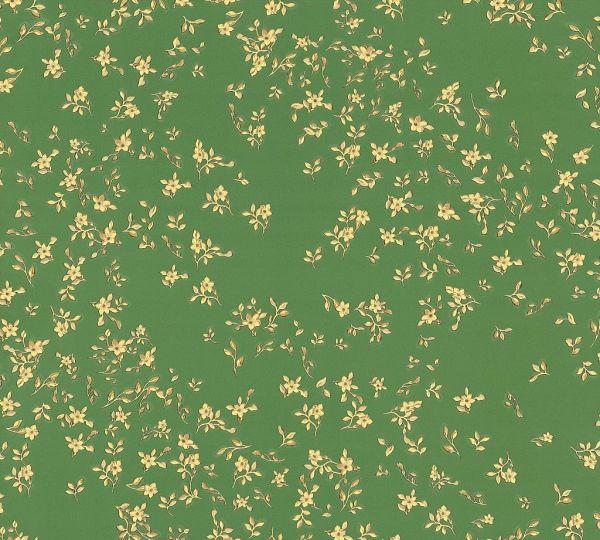 Versace Tapete kleine Blumen Floral grün gelb metallic