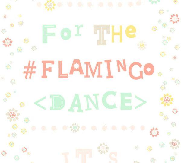 Vliestapete Blümchen Flamingo Dance Schrift weiß bunt