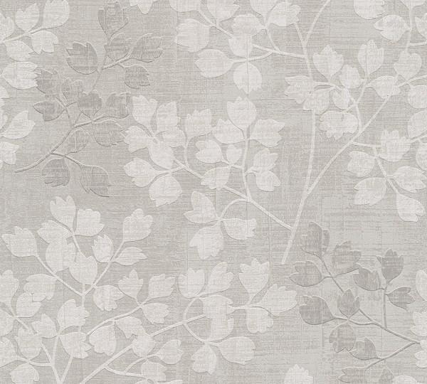 Vliestapete Floral Blüten Blätter beige grau