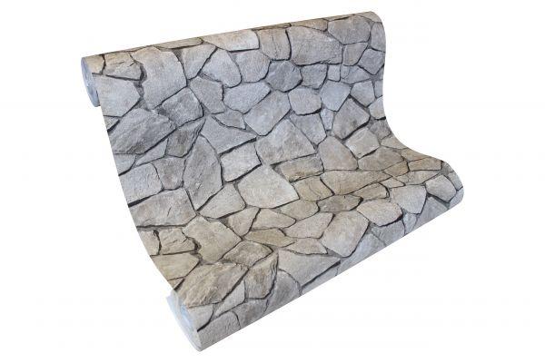 Vliestapete Bruchstein Mauer Steinwand Steinoptik grau silber