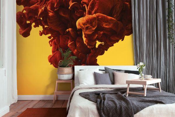 Fototapete Digitaldruck 3D abstrakte Kunst Rauch orange 255 x 350 cm
