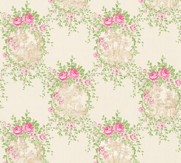 Vliestapete Blumen Landhaus creme grün pink Chateau 5