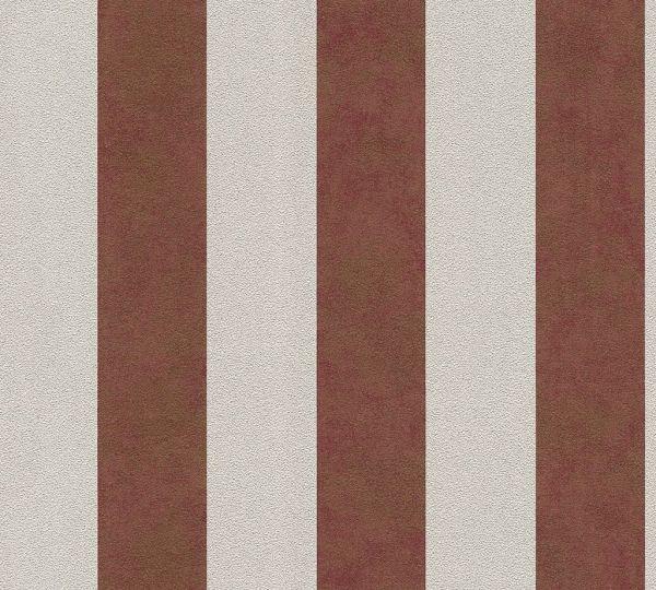 Streifen Vliestapete rot meliert beige Glitzer