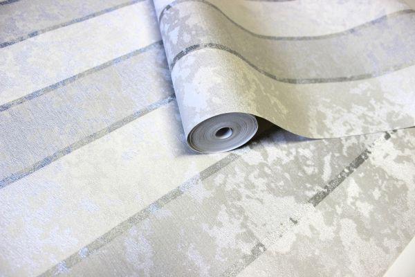 Vlies Streifentapete Textil Optik meliert silber grau weiß Italy