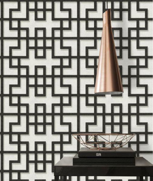 Vliestapete Asia Labyrinth schwarz weiß