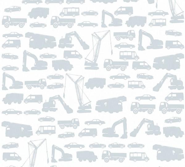 Kinder Vliestapete Bagger LKW Autos weiß silber