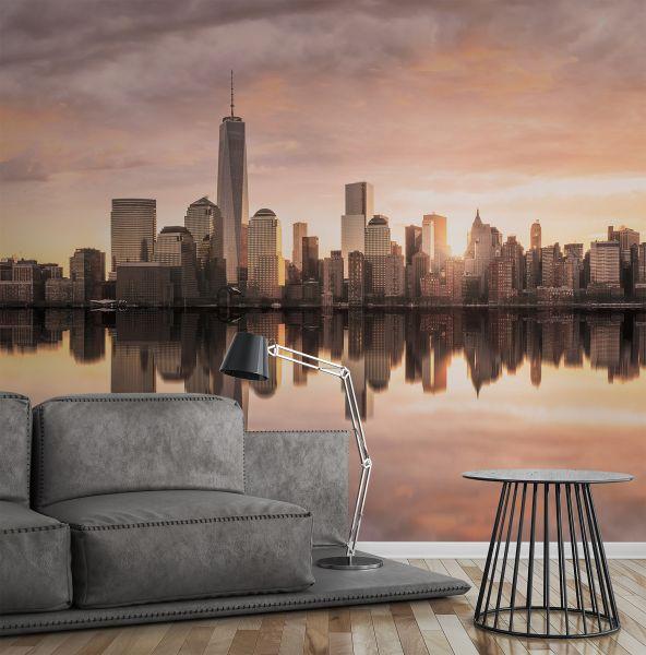 Fototapete Digitaldruck NY Skyline Sonnenuntergang Vintage 255 x 350 cm