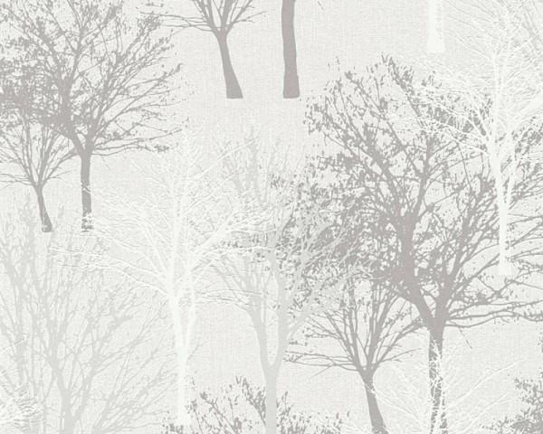 Vliestapete Bäume Natur creme grau Elegance