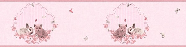 Tapeten Bordüre Kinder Struktur Hasen Katzen rosa