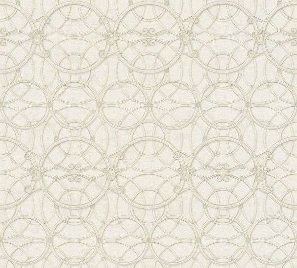 Tapete grafische Kreise Medusa creme metallic Versace