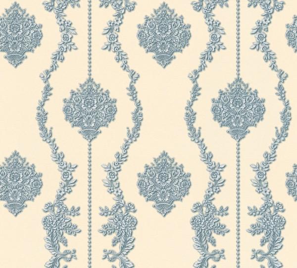 Vliestapete Barock Ornament Streifen beige blau metallic Chateau 5