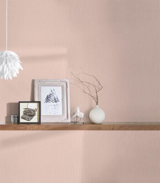 Elegante Uni Vliestapete leichte Streifen Optik rose metallic