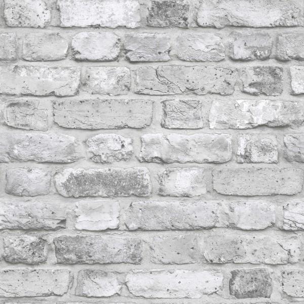 Vliestapete Bruchstein Ziegelstein grau