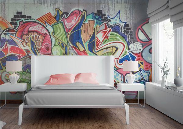 Fototapete Digitaldruck Graffiti Stein Wand 255 x 350 cm