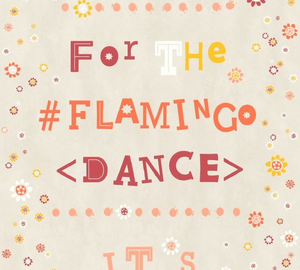 Vliestapete Blümchen Flamingo Dance Schrift orange