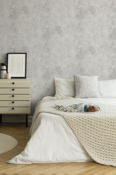 Uni Vliestapete used Beton grau silber metallic