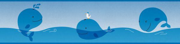 Selbstklebende Bordüre Lovely Kids Wale blau 5,00m x 0,155m