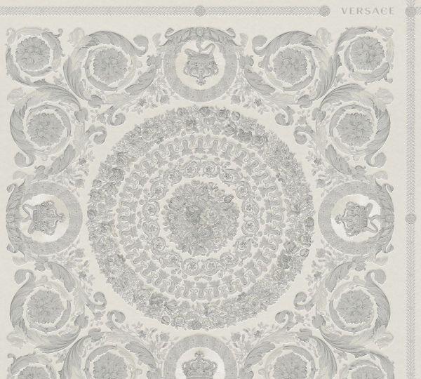Florales Ornament Kacheln Tapete grau silber metallic Versace