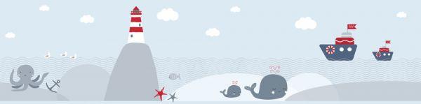 Selbstklebende Bordüre Ocean Leuchtturm Wale Schiffe 5,00m x 0,155m
