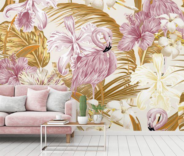 Fototapete Digitaldruck Flamingo Blumen rose 255 x 350 cm
