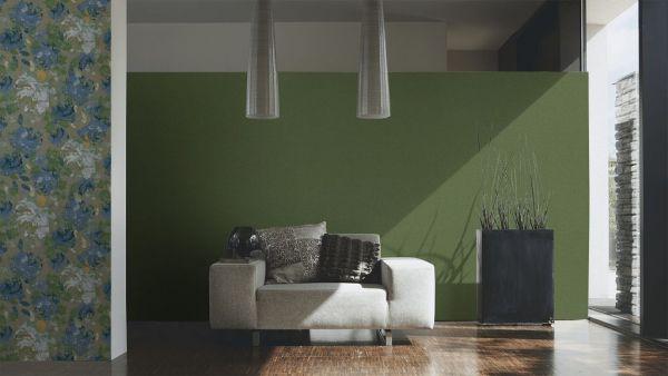 Vliestapete Uni Struktur Textil Optik grün