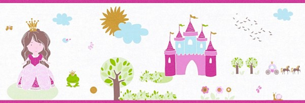 Tapeten Bordüre Schloss Prinzessin weiß pink