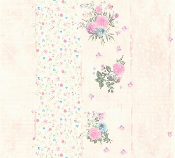 Vliestapete grafisch Streifen Blumen Schrift rosa