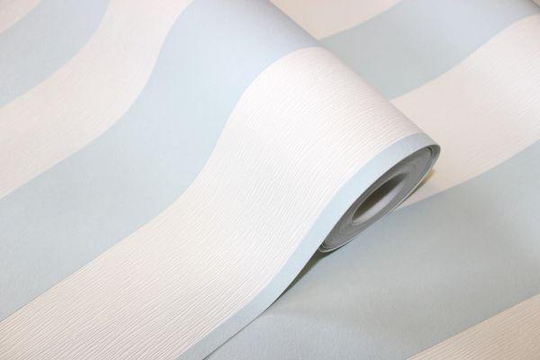Vliestapete Streifen Struktur Blockstreifen weiß mint blau