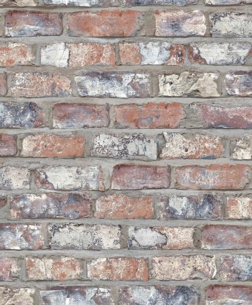 Vliestapete Ziegelstein Klinker terra rot grau Used-Look 3103