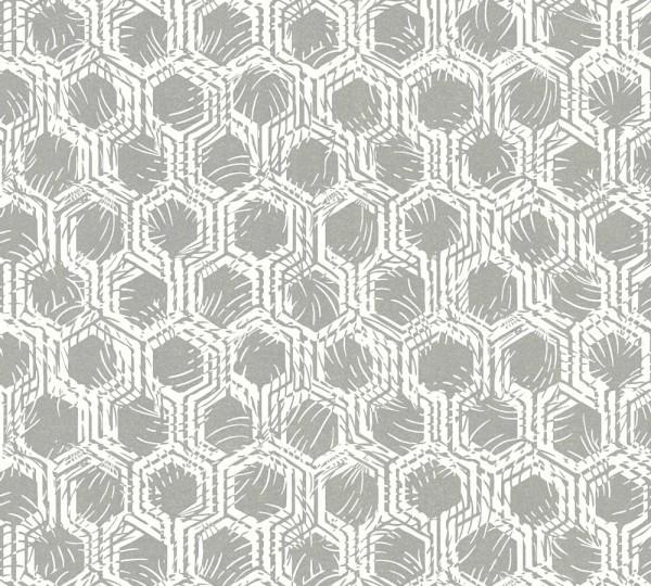 Vlies Tapete Waben Grafik silber weiß metallic