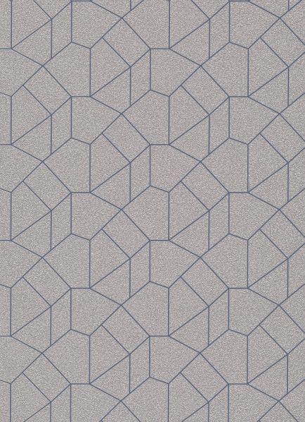 Vliestapete Carat grafisches Muster weißgold blau glänzend