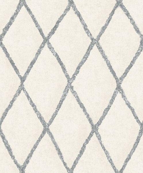 Vliestapete Rauten Muster creme weiß schwarz Struktur