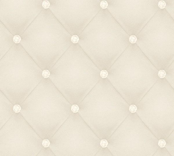 Vliestapete Leder Optik Diamant weiß grau