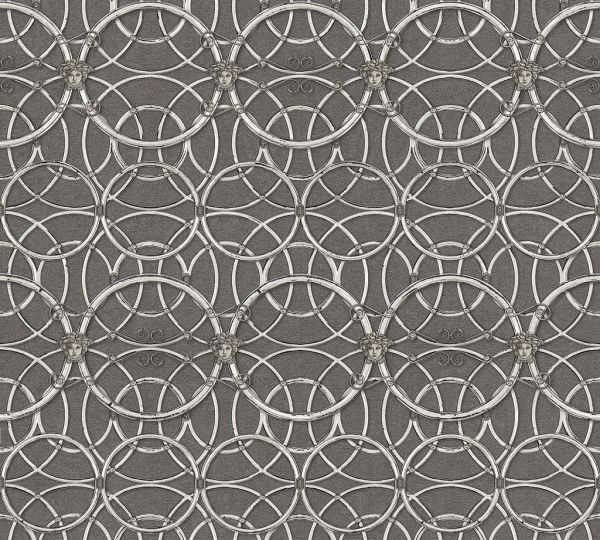Tapete grafische Kreise Medusa grau silber metallic Versace
