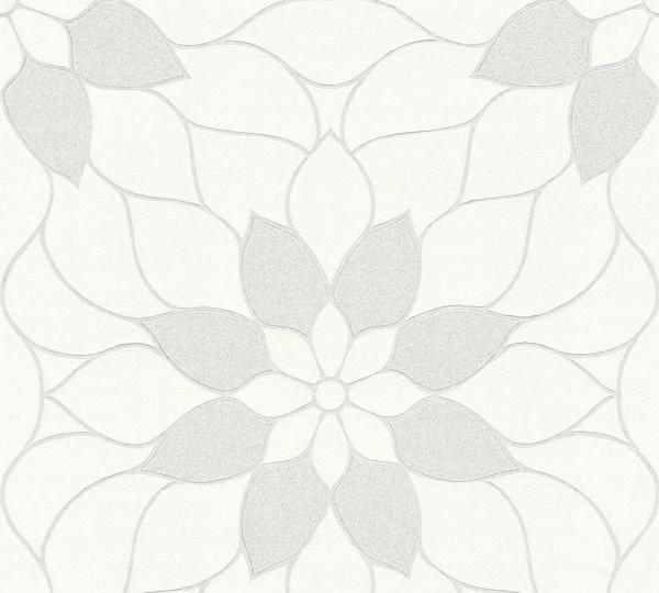 Vliestapete Blüten Ornament weiß Glitzer Klara
