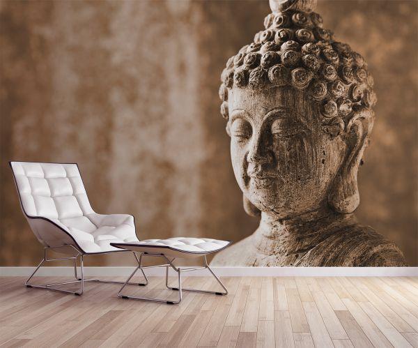 Fototapete Digitaldruck Buddha Kopf braun 255 x 350 cm