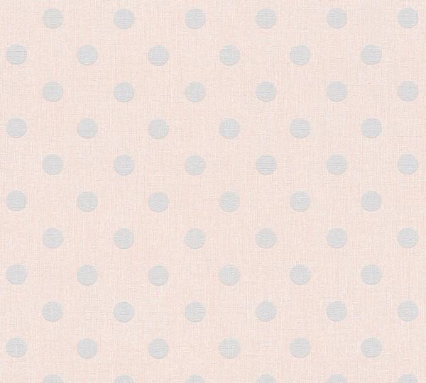 Vliestapete Punkte rosa grau Elegance