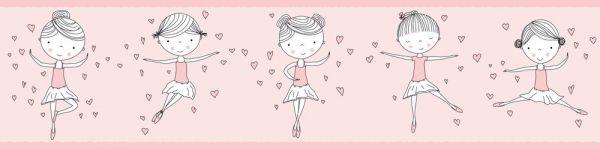 Selbstklebende Bordüre Lovely Kids Prima Ballerina Prinzessin rosa 5,00m x 0,155m