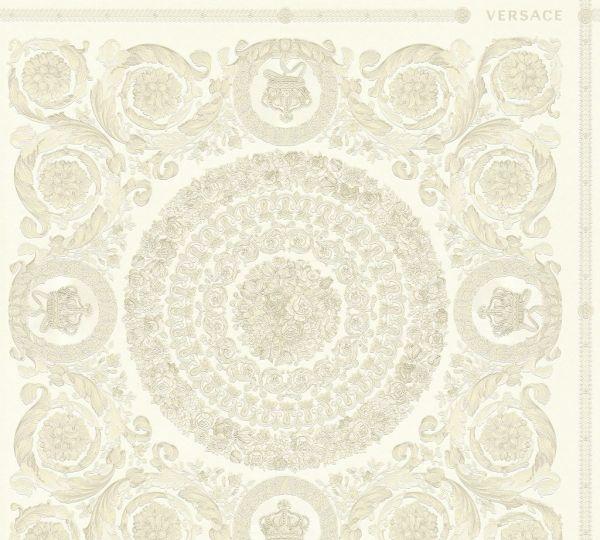 Florales Ornament Kacheln Tapete weiß creme metallic Versace