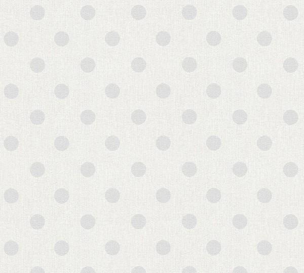 Vliestapete Punkte creme grau weiß Elegance