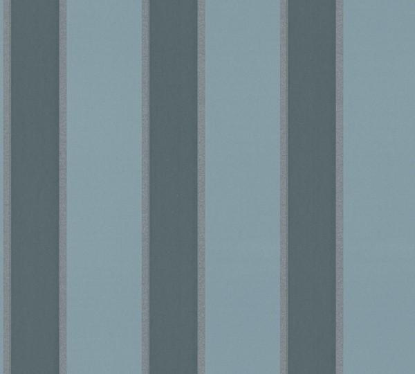 Vlies Tapete Streifen blau metallic