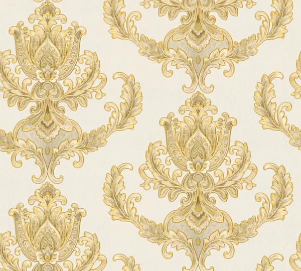 Vliestapete Floral Barock beige gold glanz