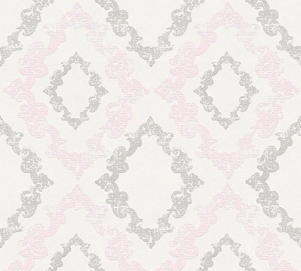 Vliestapete Barock Ornament Glitzer grau rosa