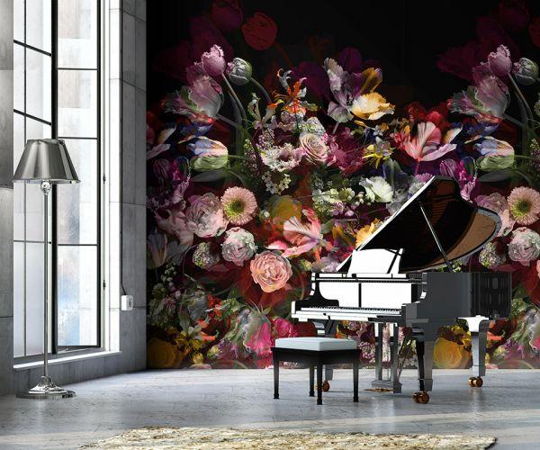 Vlies Foto Tapete floral Blumen schwarz Rosen Tulpen 200x280cm