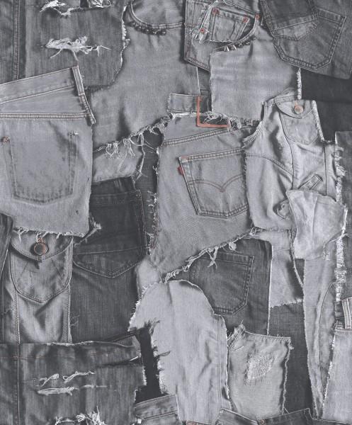 Vliestapete Jeans Optik anthrazit grau